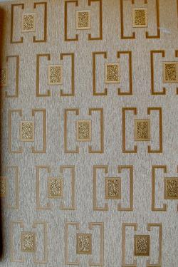 Gold & Grey Box Pattern Wallpaper For Home Decoration (003200)