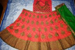 Raw silk designer wedding lehenga