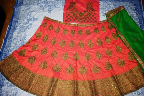 Raw silk designer wedding lehenga