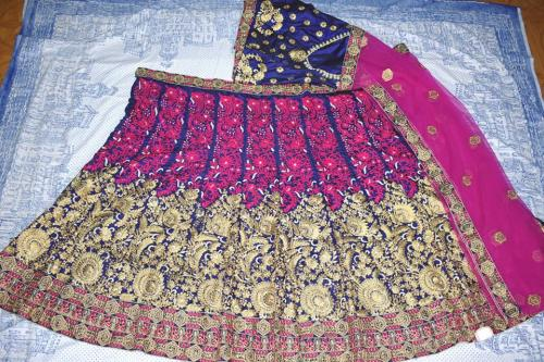 Raw silk wedding lehenga