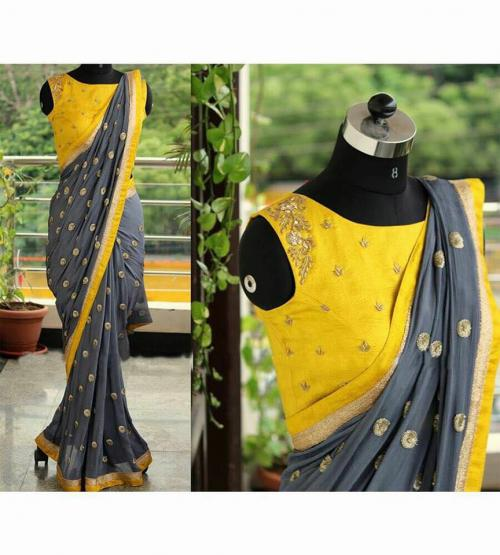 Grey Yellow Designer Saree