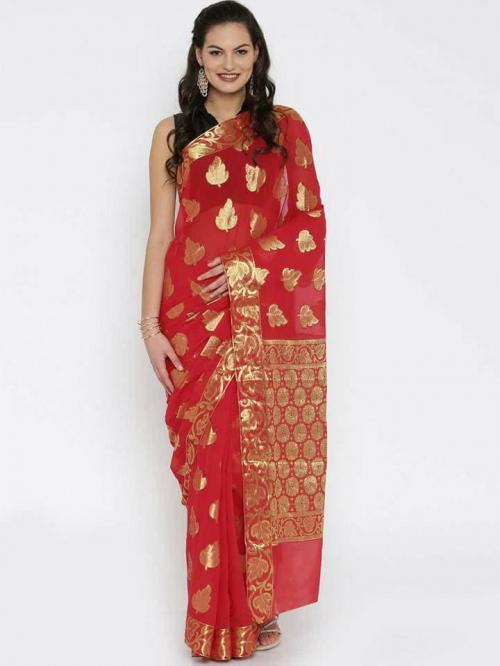 Red Banarasi zari chiffon saree