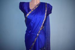 Silk zari border saree