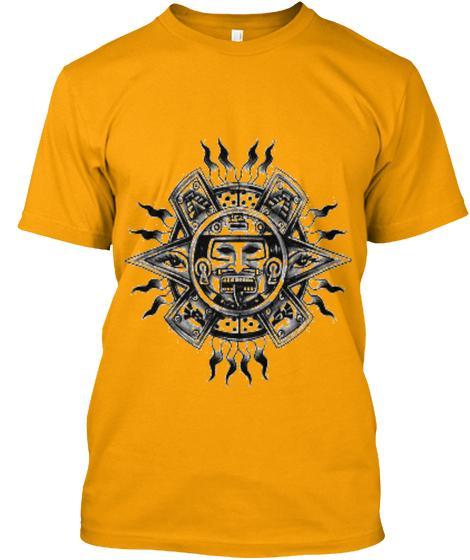 Mayan design T-Shirts, Short sleeve tshirts, custom design tshirts, mens tshirts, gold tshirt, orange tshirt, grey tshirts.