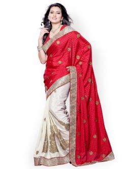 Red & White Designer Saree