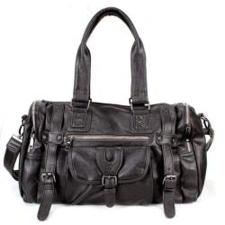 Faux Leather Zipper Handbag
