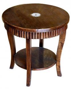 Dark Brown Sissoo Wood Coffee Table - 2 Layer (SD-067)