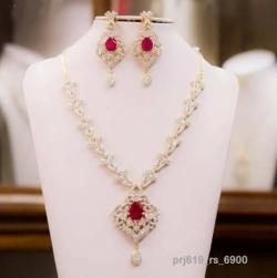 Ruby Diamond Necklace with Matching Ear Rings