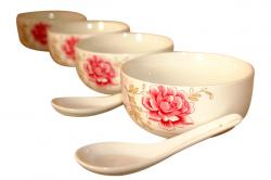 White Floral Soup Bowl With Spoon - 6 Pieces (TP-801)