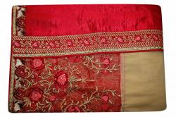Embroidered Sandy Brown & Pink Mixed Color Party Wear Saree - (RI-E1)