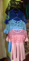 Net floral cut designed flare short dress