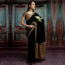 Black And Gold Embellished Saree