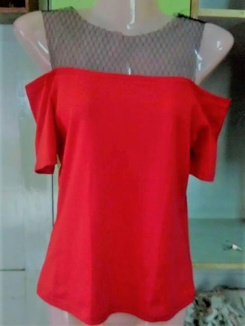 Off shoulder net strapped tops