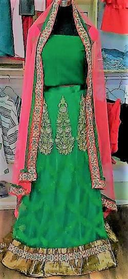 Designer piece Sweet Green Lehenga