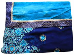 Embroidered Turquoise Blue & Navy BlueMixed Color Party Wear Saree - (RI-E2)