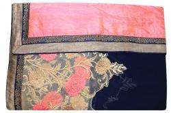 Embroidered Navy Blue & Peach Mixed Color Party Wear Saree - (RI-E3)