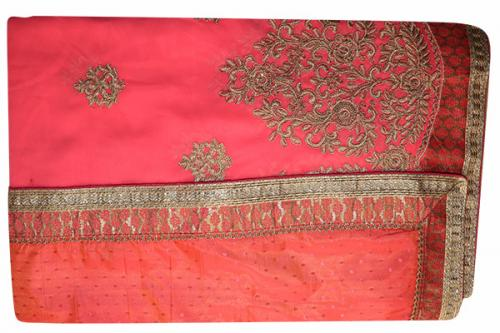 Embroidered Light Pink Color Party Wear Saree - (RI-E4)