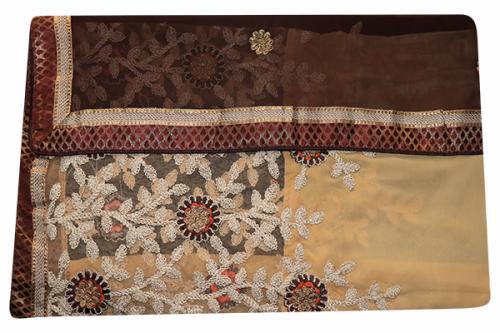 Embroidered Brown & Cream Mixed Color Party Wear Saree - (RI-E5)