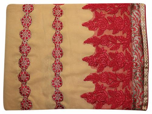 Embroidered Red & Cream Mixed Color Party Wear Saree - (RI-E6)