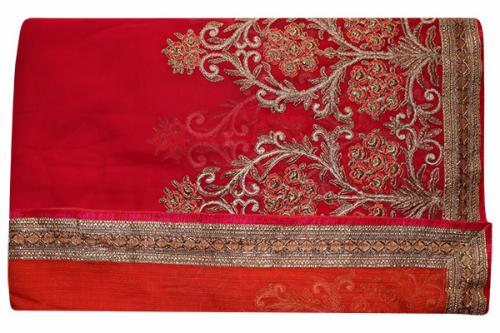 Embroidered Pink & Orange Mixed Color Party Wear Saree - (RI-E7)