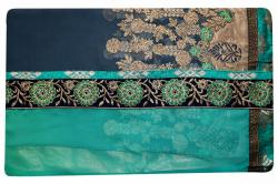 Embroidered Green & Black Mixed Color Party Wear Saree - (RI-E8)