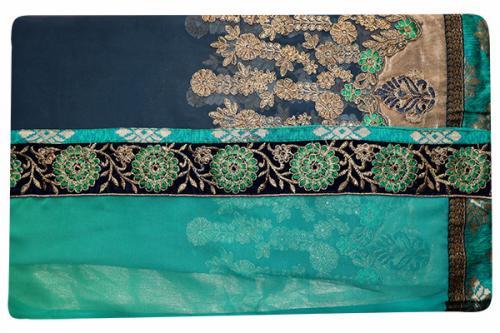 Embroidered Green & Black Mixed Color Party Wear Saree - (RI-E8)