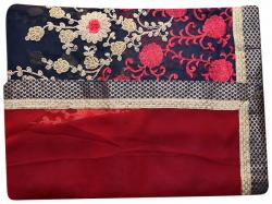 Embroidered Blue & Pink Mixed Color Party Wear Saree - (RI-Q1)