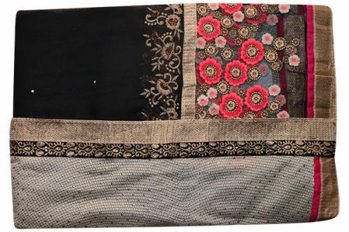 Embroidered Black & Cream Mixed Color Party Wear Saree - (RI-SV1)