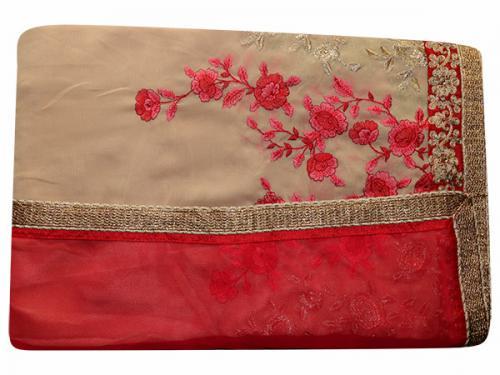 Embroidered Cream & Orange Mixed Color Party Wear Saree - (RI-U1)