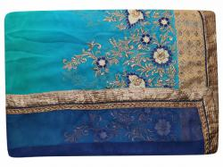 Embroidered Dark Blue & Light Blue Mixed Color Party Wear Saree - (RI-U2)