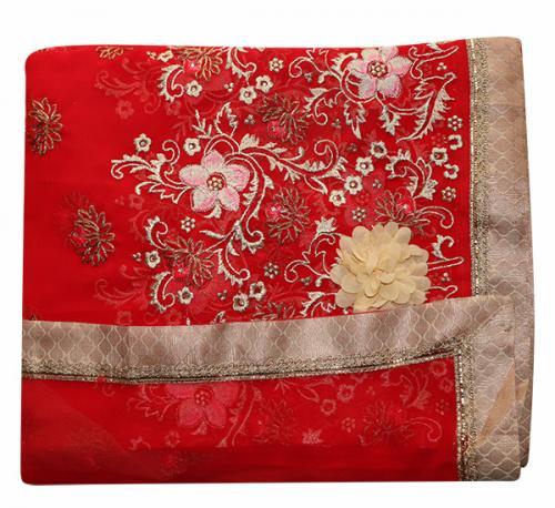 Embroidered Dark Red Party Wear Saree - (RI-R1)