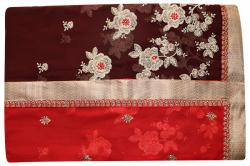 Embroidered Red & Brown Mixed Color Party Wear Saree - (RI-R2)