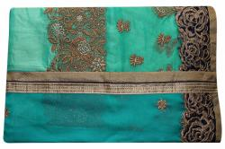 Embroidered Blue & Green Mixed Color Party Wear Saree - (RI-R3)