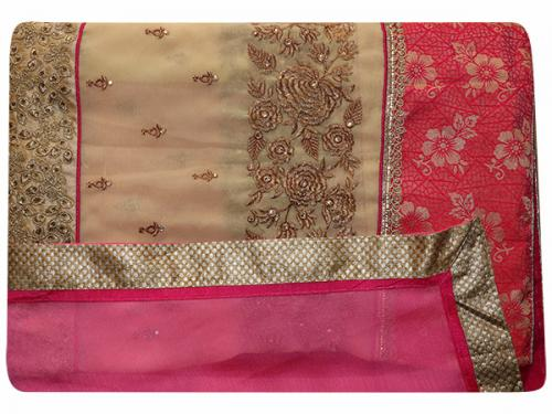 Embroidered Pink & Cream Mixed Color Party Wear Saree - (RI-R5)
