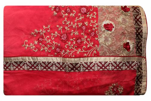 Embroidered Light Peach Color Party Wear Saree - (RI-G1)