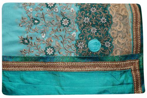 Embroidered Blue Color Party Wear Saree - (RI-G3)