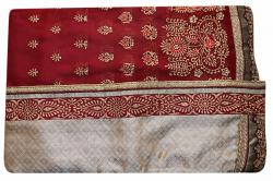 Embroidered Maroon & Sandy Brown Mixed Color Party Wear Saree - (RI-I1)
