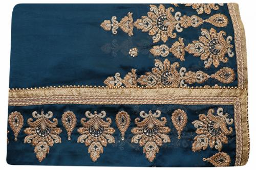Embroidered Blue Color Party Wear Saree - (RI-I2)