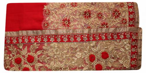 Embroidered Red Party Wear Saree - (RI-V1)