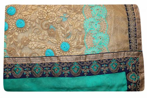 Embroidered Light Green Color Party Wear Saree - (RI-V2)