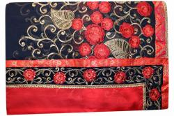 Embroidered Red & Navy Blue Mixed Color Party Wear Saree - (RI-L1)