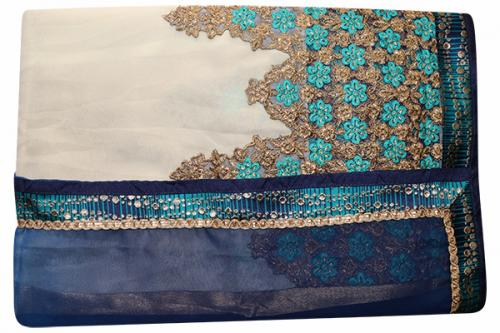 Embroidered Blue & White Mixed Color Party Wear Saree - (RI-L2)