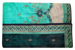 Embroidered Blue Color Party Wear Saree - (RI-SJ1)
