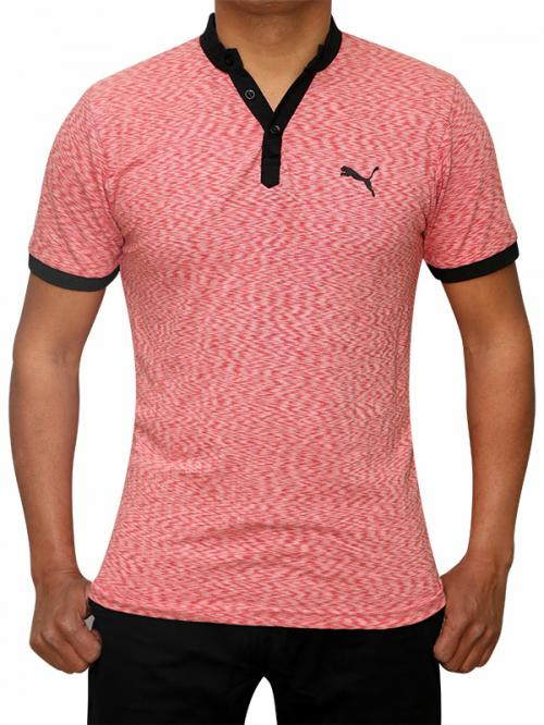 100% Cotton Half Sleeve T-Shirt For Men - Dark Peach Color - (RS-0001)