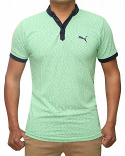 100% Cotton Half Sleeve T-Shirt For Men - Green Color - (RS-0002)