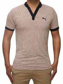 100% Cotton Half Sleeve T-Shirt For Men - Brown Color - (RS-0004)