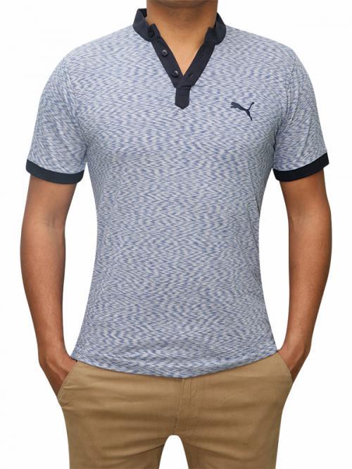100% Cotton Half Sleeve T-Shirt For Men - Blue Color - (RS-0005)