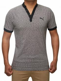 100% Cotton Half Sleeve T-Shirt For Men - Dark Grey Color - (RS-0006)