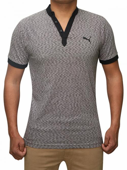 100% Cotton Half Sleeve T-Shirt For Men - Dark Grey Color - (RS-0006)