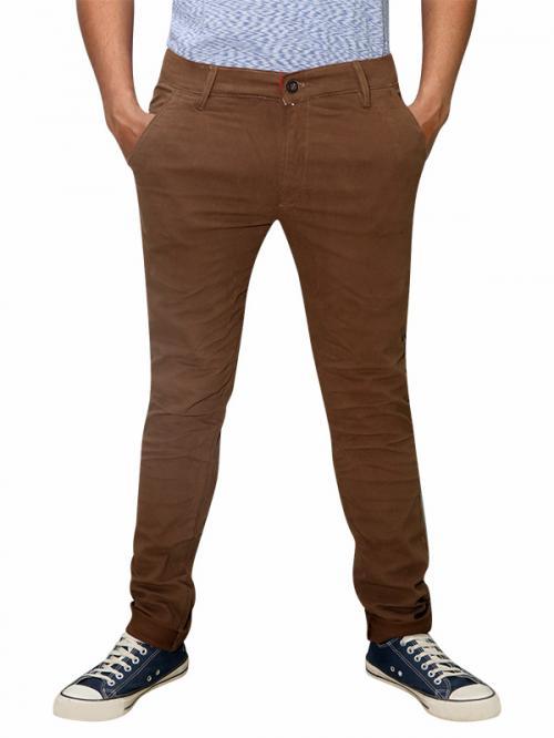 Men's Slim Fit Stretchable Semi Formal Twill Jeans Pant - Dark Brown - (RS-0009)
